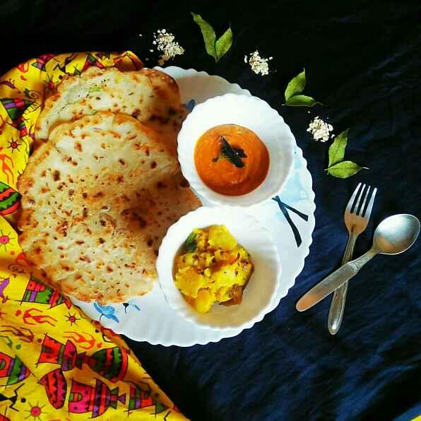 How to make Masala oats pancake with south style Sukha aloo and Kara chutney