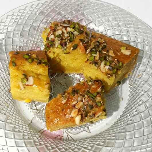 How to make Eggless Mango Saffron Cake