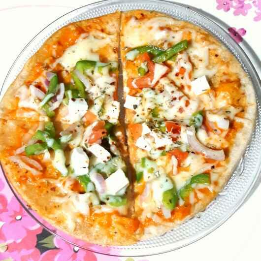 Photo of Whole wheat thin crust  tawa pizza by Sanuber Ashrafi at BetterButter