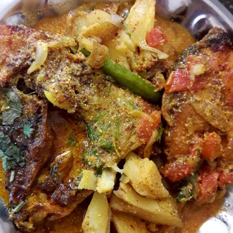 How to make Katla fish /rohu fish& cauliflower in musturd gravy