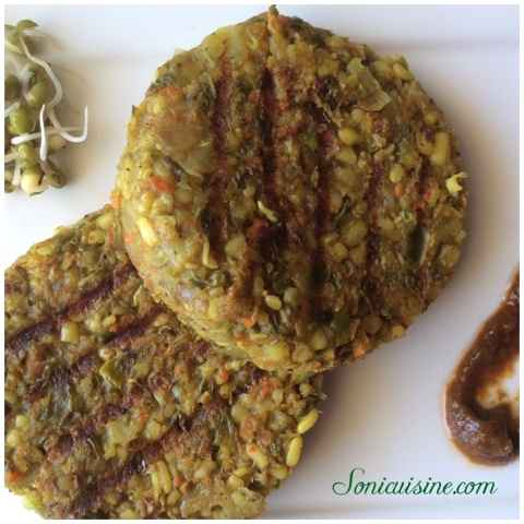 How to make Sprouted moong, oats and veggie kabab