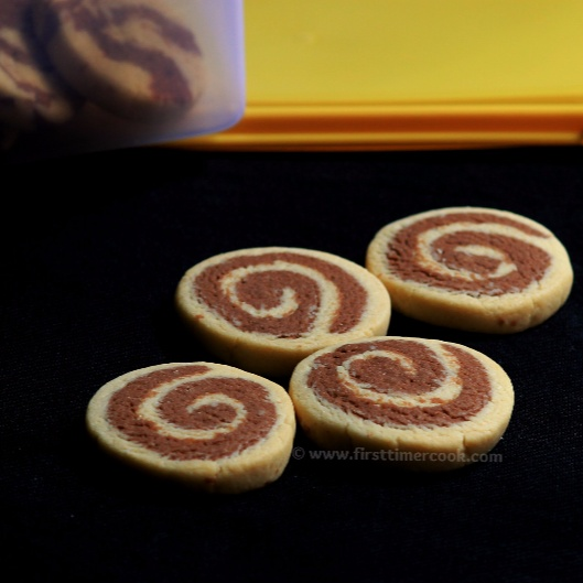 Photo of Eggless Choco Pinwheel Cookies or Choco Swirl Cookies by Sasmita Sahoo Samanta at BetterButter