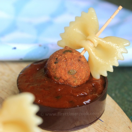 How to make Veggie Meatballs Pasta Canapes