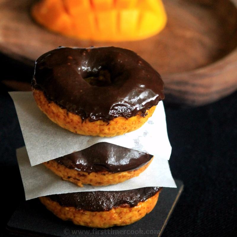 How to make Mango Donut (Doughnut) Cake with Chocolate Glaze