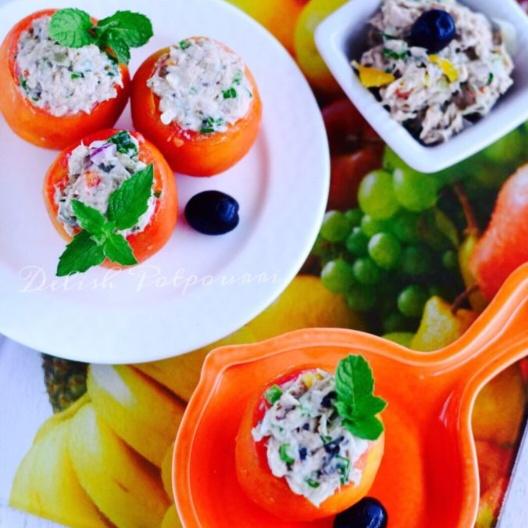How to make Tuna salad stuffed Tomatoes