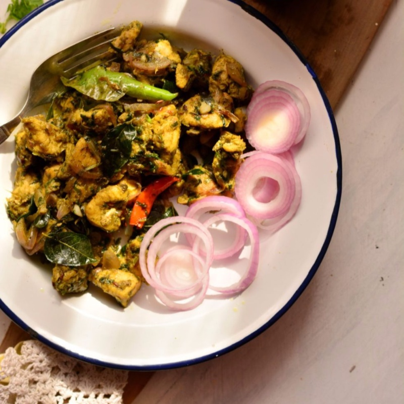How to make Andhra Style Green Chilli Chicken