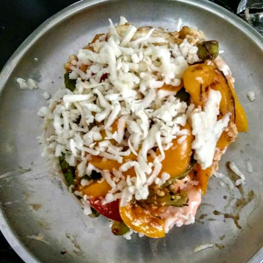 Photo of Dominos style veg pizza burger by Shakuntla Tulshyan at BetterButter