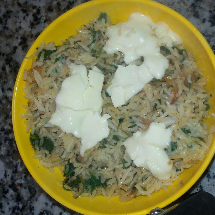 How to make Spinach Cheesy Rice