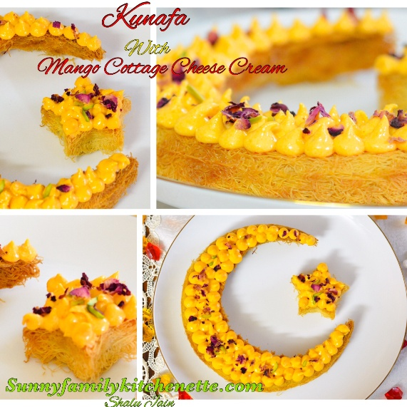 How to make KUNAFA WITH MANGO COTTAGE CHEESE CREAM