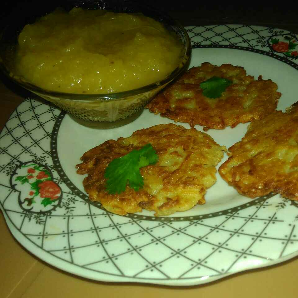 Photo of Traditional potato latkes with apple sauce by Shaoly Das Roy at BetterButter
