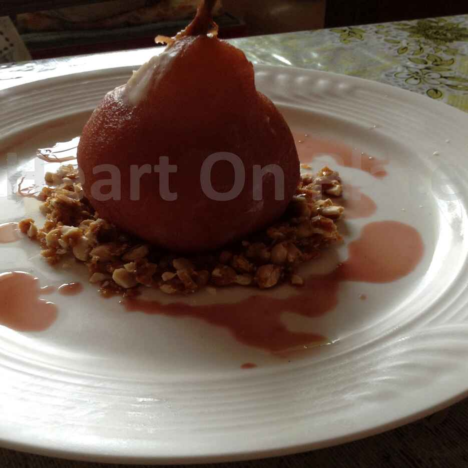 How to make Poached Pear with Cashew Praline