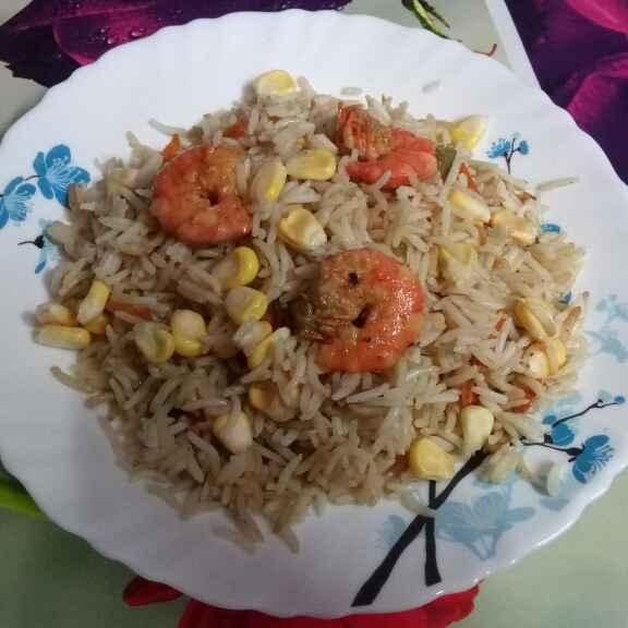 Photo of corn prawn rice by Sharmila Dalal at BetterButter