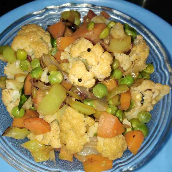 How to make Bajji milagai mixed veg poriyal