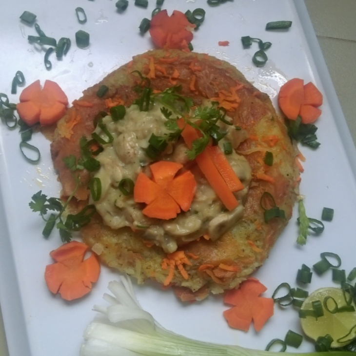 How to make Potato Roesti with mushroom Sauce and Glazed carrots.