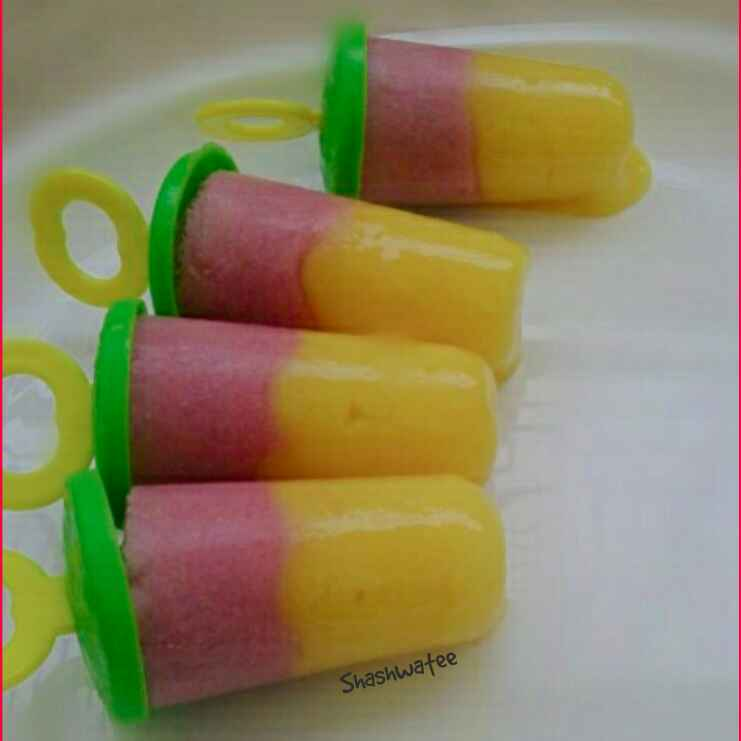 Photo of Mango pomegranate popsicles by Shashwatee Swagatica at BetterButter