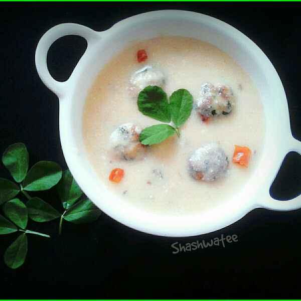 How to make Methi pakoda kadhi (in appam pan)
