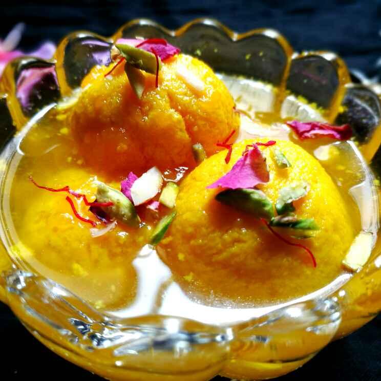 Photo of Mango stuffed mango rasgulla by Shikha Gupta at BetterButter