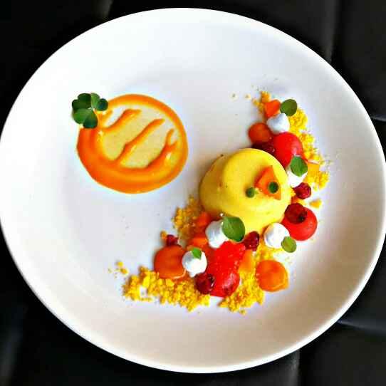 Photo of Saffron Yoghurt Pannacotta plated dessert. by Shilpa Mehta at BetterButter