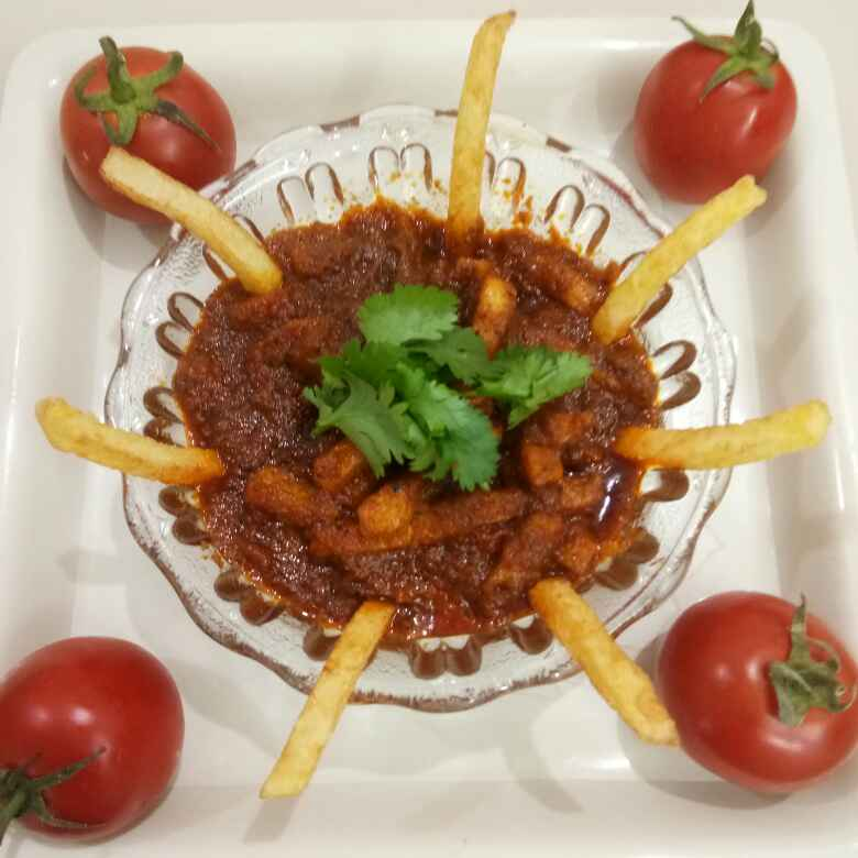 Photo of French fries in  tomato gravy (without onion and garlic ) by Shital Satapara at BetterButter