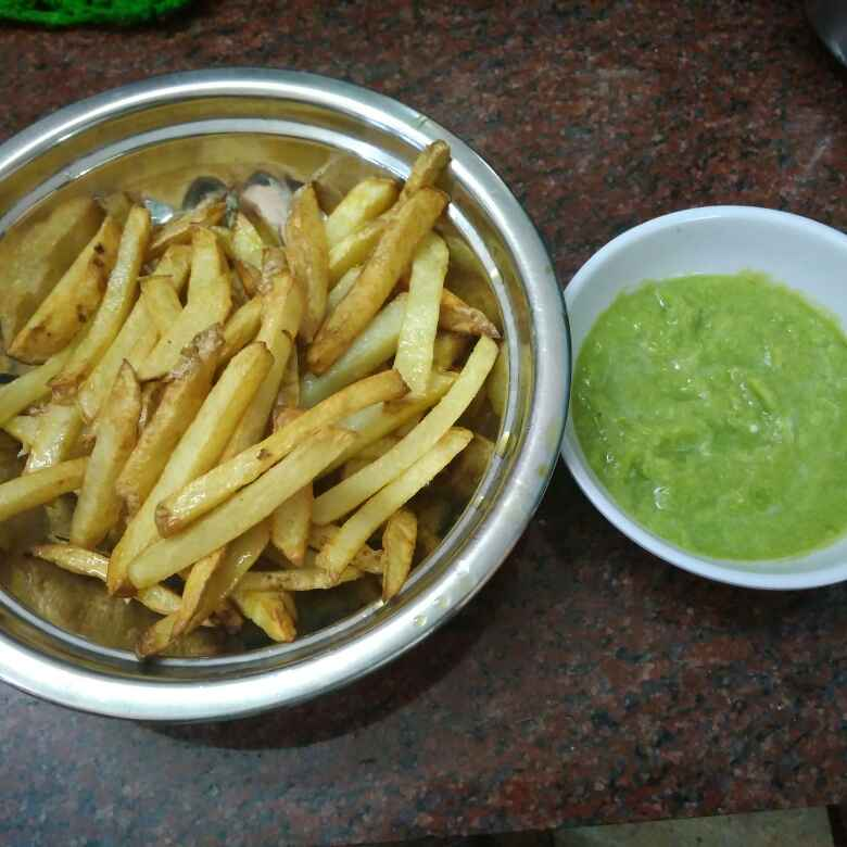 Photo of French fries ,green chilli chutney by Shoba Jaivin at BetterButter