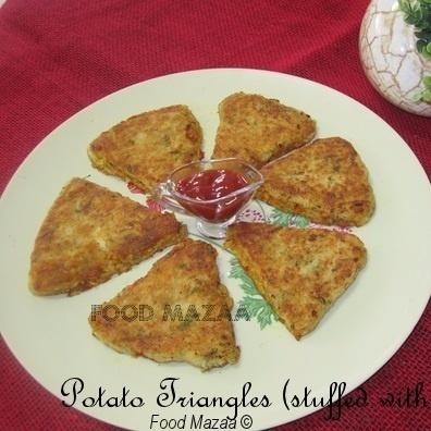Photo of Potato Triangles stuffed with Macaroni by Shobha Keshwani at BetterButter