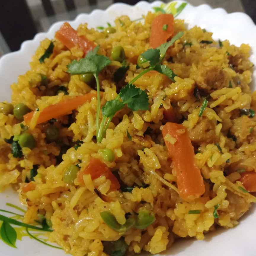 How to make Soya vegetables masala rice