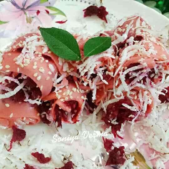 How to make गुलाबी खांडवी