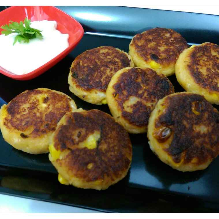 Photo of Corn and paneer tikkis by Sreemoyee Bhattacharjee at BetterButter