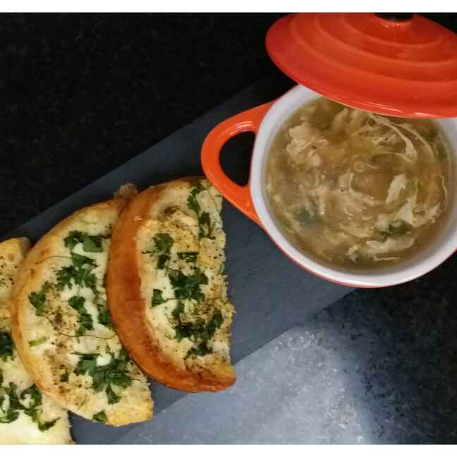 How to make Chicken & Spring Onion Soup with Garlic Bread