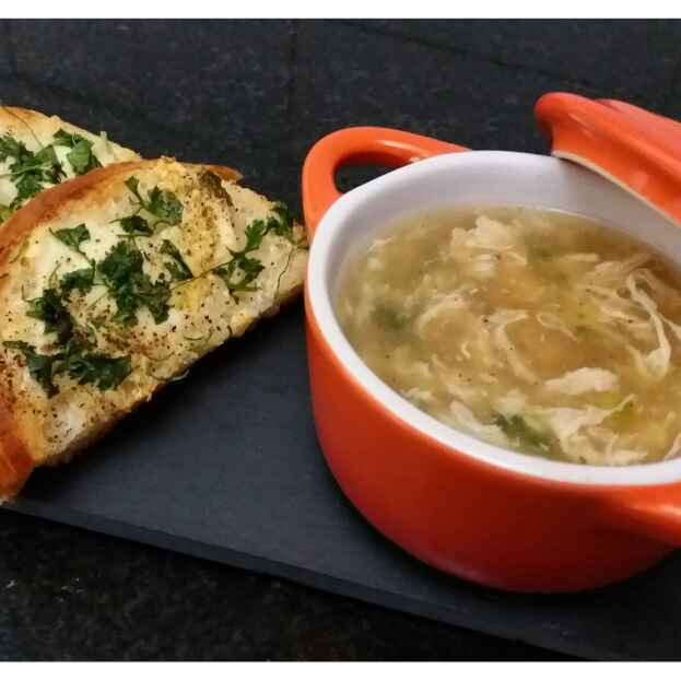 Photo of Chicken & Spring Onion Soup with Garlic Bread by Sreemoyee Bhattacharjee at BetterButter
