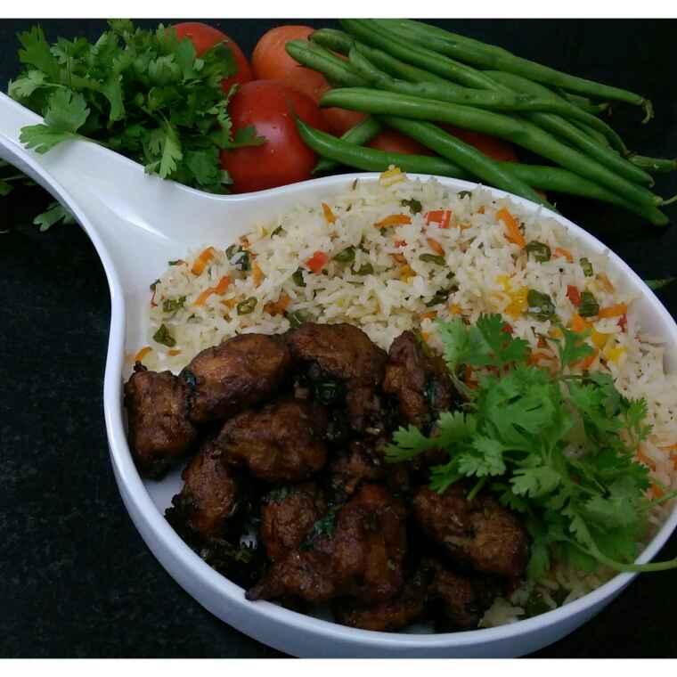How to make Stir fry garlic & coriander chicken & fried rice