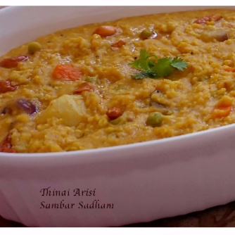 How to make Thinai Arisi (Foxtail Millet) Sambar Sadham