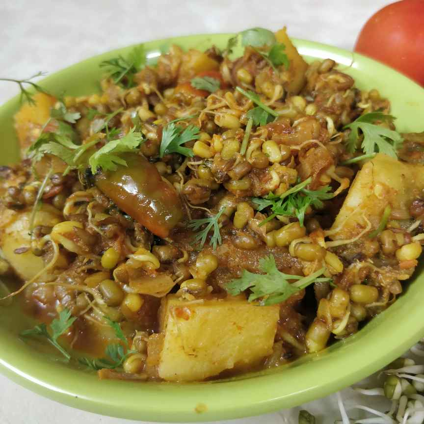 Photo of Sprouts alu masala curry by Sudha Badam at BetterButter