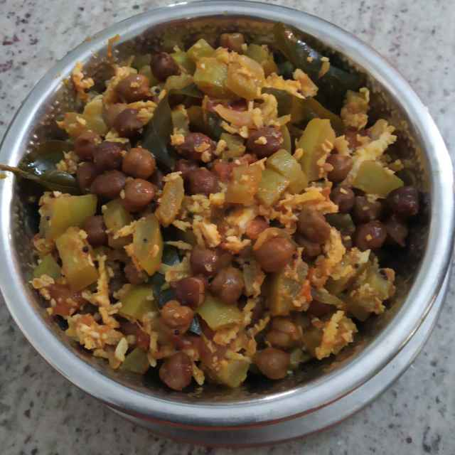 Photo of Snake gourd and black chenna poriyal by sudha rani at BetterButter