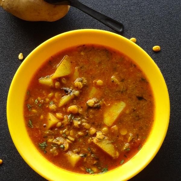 How to make Split Chickpea Potato Curry or Chana dal Batata Usal