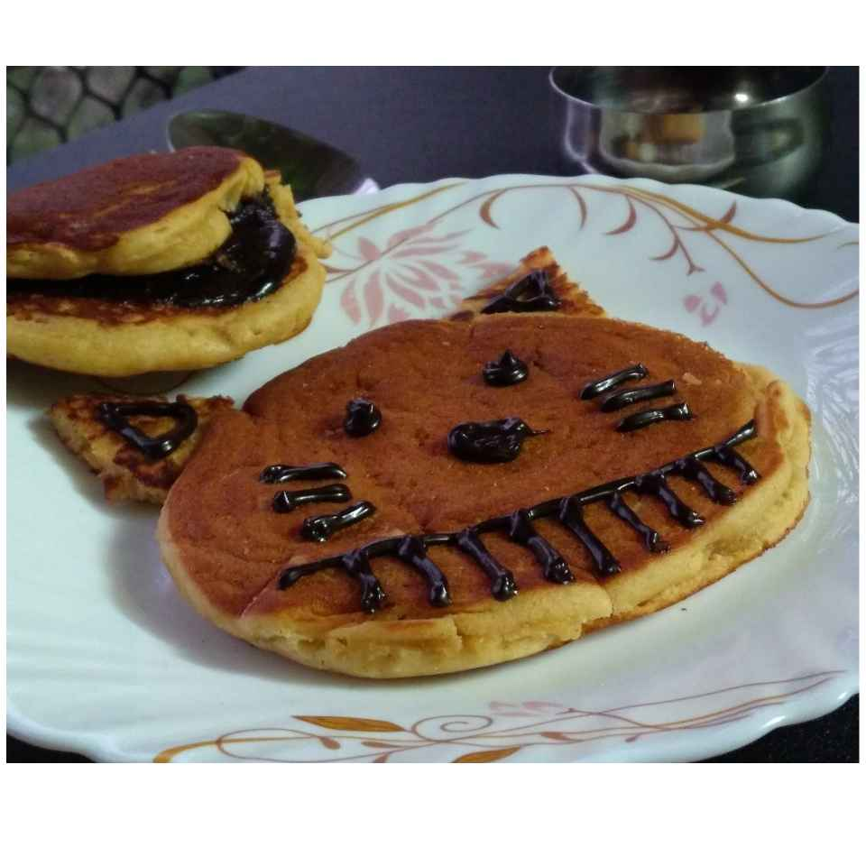 Photo of Eggless Dorayaki Cake Filled with Chocolate-Gulkand-Peanut Butter Ganache by Sujata Hande-Parab at BetterButter
