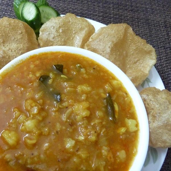 Photo of POORI DUMPALU KOORA - potato gravy with poori by Sujatha Ratnala at BetterButter