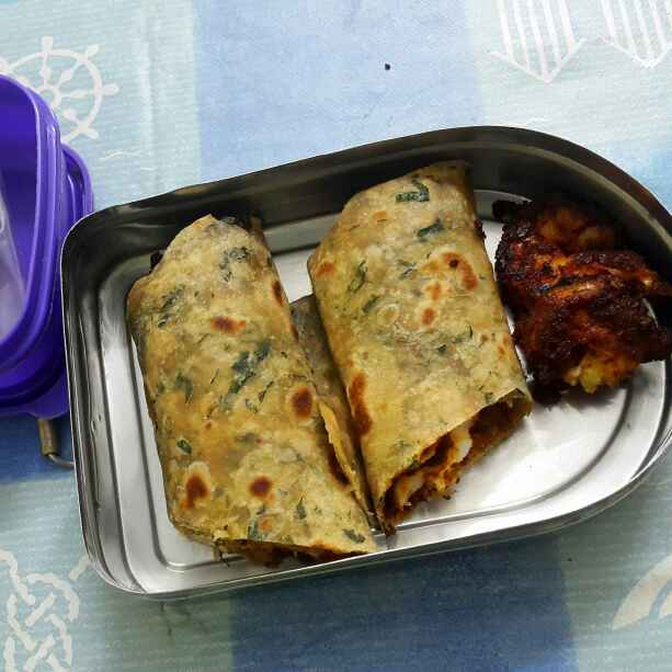 Photo of Moringa leaves chapathi prawns roll by Sumaiya Arafath at BetterButter