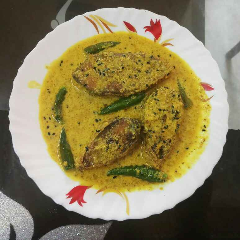 Photo of Hilsha fish with milk and mustard gravy by Sunanda Jash at BetterButter