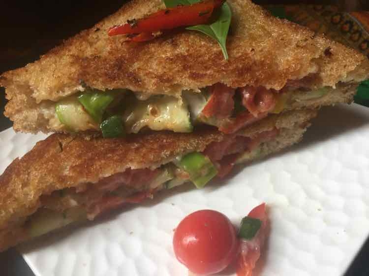 Photo of Grilled veggies in mayo sandwich by Sunita Sharma at BetterButter
