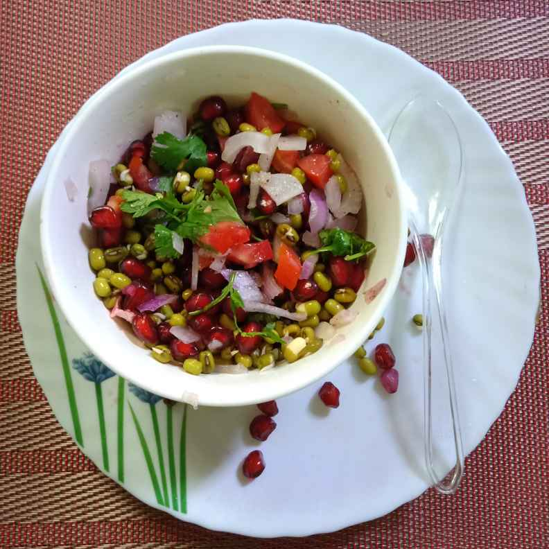 Photo of Sprouted green gram pomegranate veg salad by Surya Rajan at BetterButter