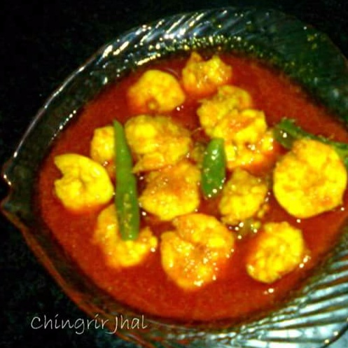 How to make CHINGRIR TEL JHAL OR PRAWN IN RED CURRY