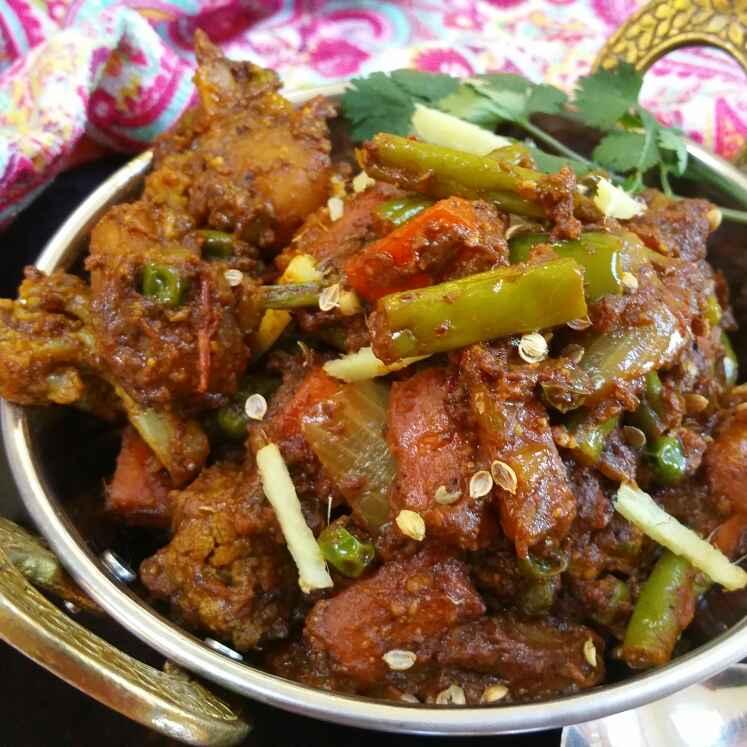 How to make Spicy kadai vegetable