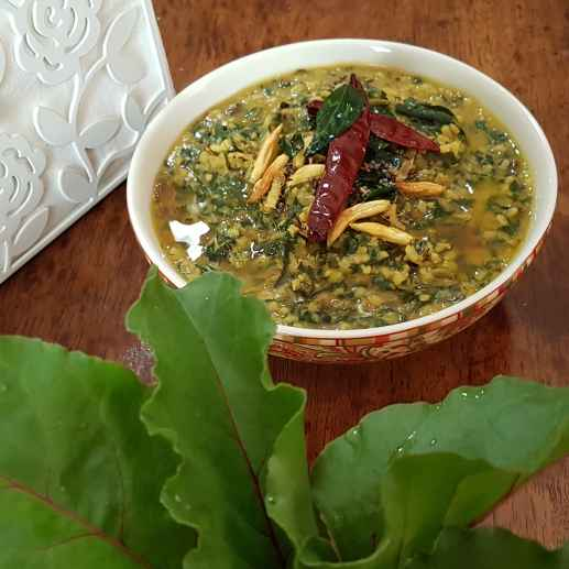 Photo of Yellow split gram with beetroot greens. by Swapna Sashikanth Tirumamidi at BetterButter