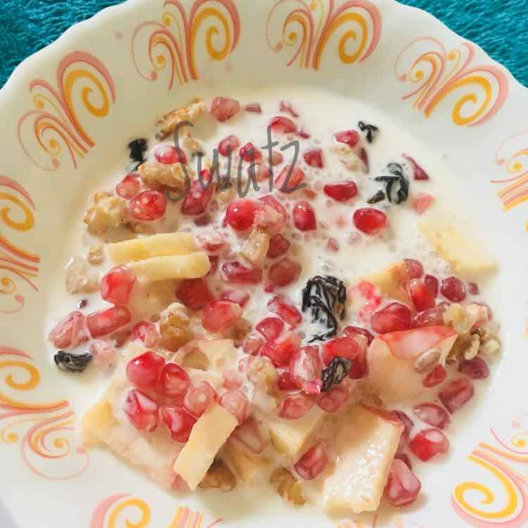How to make Fruits , Dry-fruits in Laban ( A quickly breakfast option )