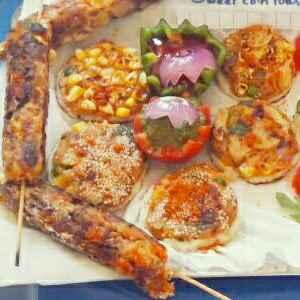 How to make Sweet corn toast n veg kabab with mint chutney n tomato sause