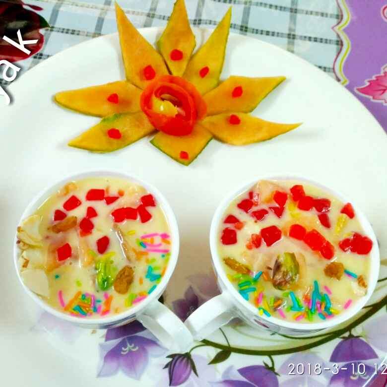 How to make Dry fruit and fruit custard
