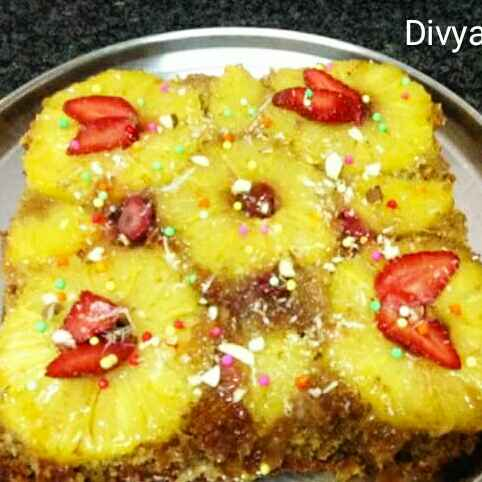 How to make oats brown sugar Upside pineapple strawberry cake
