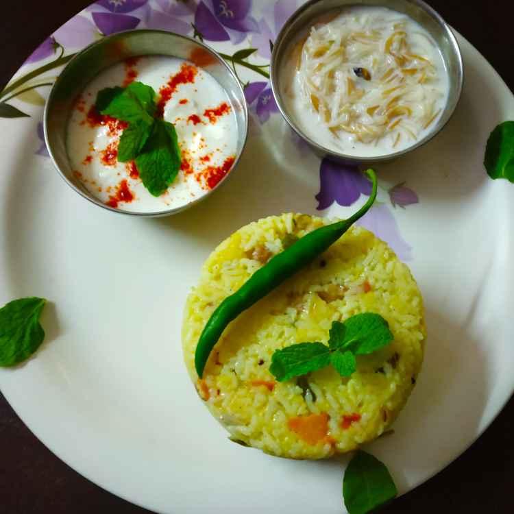Photo of Moong dall kichidi with raitha and vermicelli kheer by Divya Konduri at BetterButter
