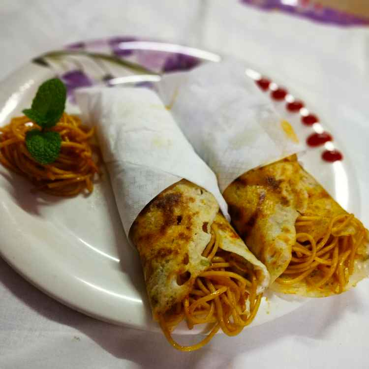 How to make Soya sause spaghetti in a dosa wrap